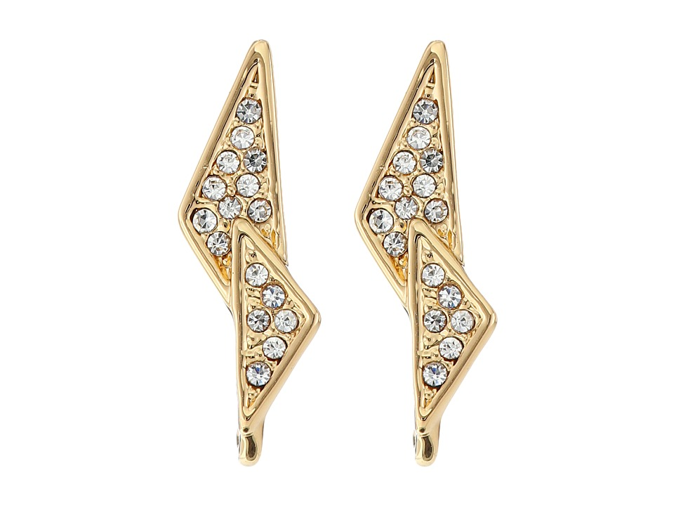 Rebecca Minkoff - Crystal Pave Double Triangle Earrings (Gold/Crystal) Earring
