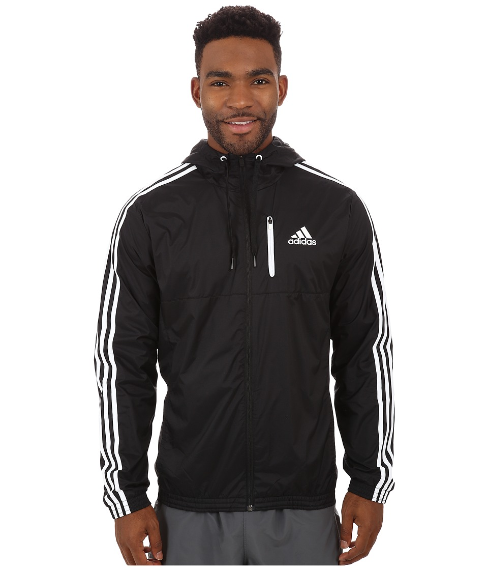 adidas - Essential 3S Woven Jacket (Black/Black/White) Men's Sweatshirt
