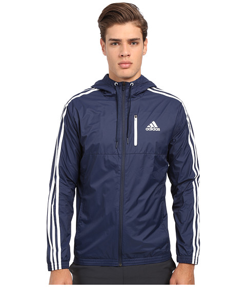 adidas - Essential 3S Woven Jacket (Collegiate Navy/Collegiate Navy/White) Men's Sweatshirt