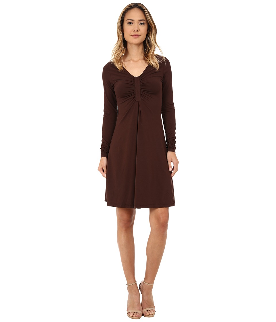Mod-o-doc - Cotton Modal Spandex Jersey Long Sleeve Front Shirred Dress (Cocoa) Women's Dress