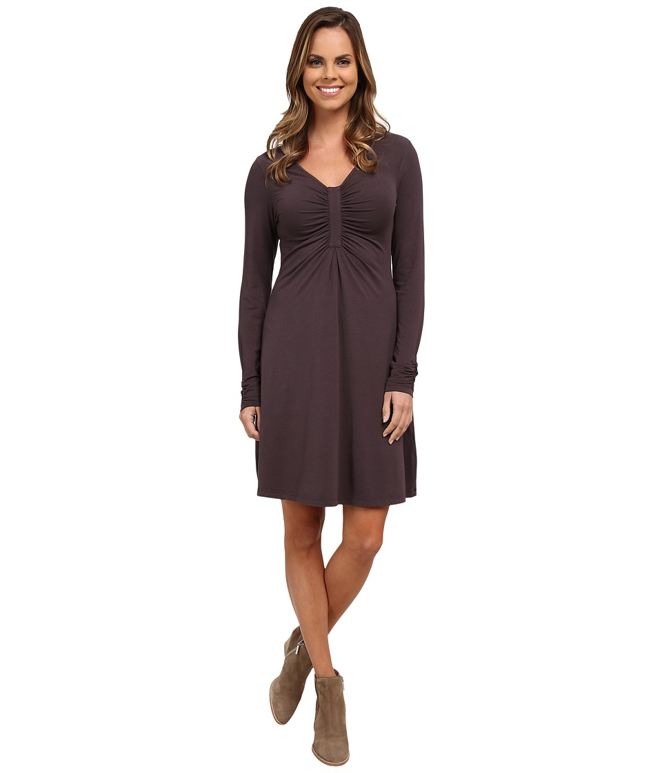 Mod-o-doc - Cotton Modal Spandex Jersey Long Sleeve Front Shirred Dress (Shadow) Women's Dress