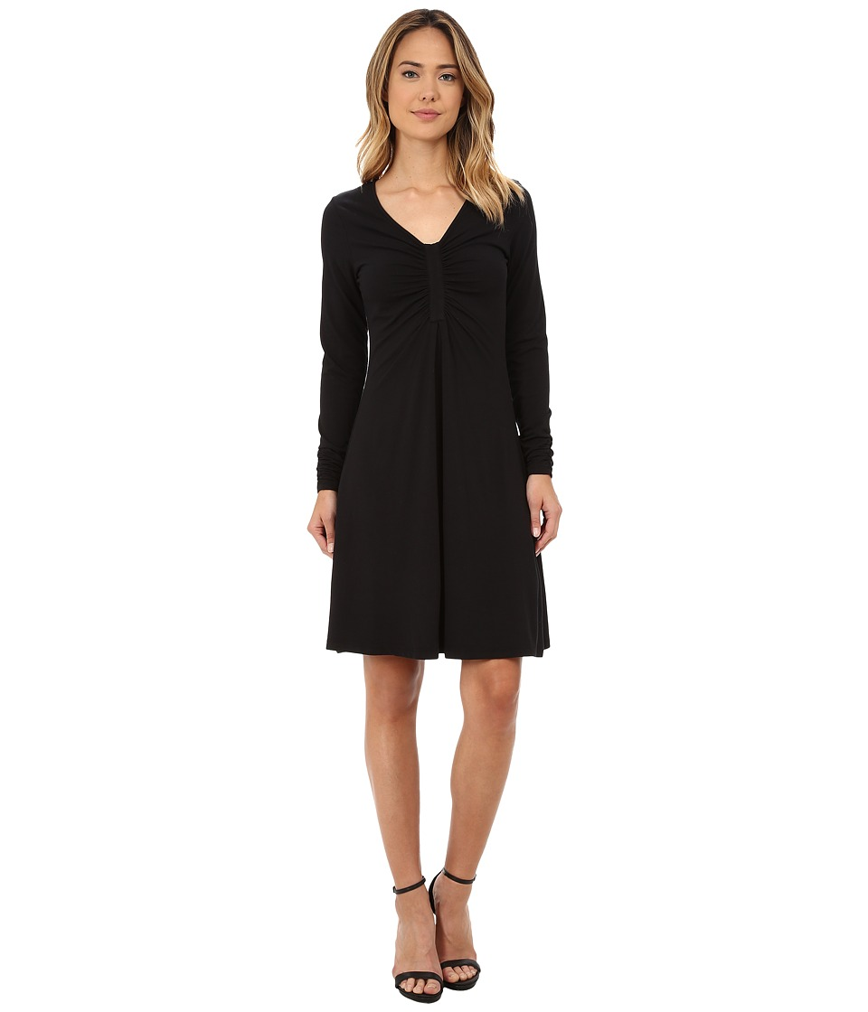 Mod-o-doc - Cotton Modal Spandex Jersey Long Sleeve Front Shirred Dress (Black) Women's Dress
