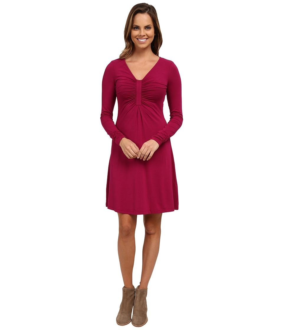 Mod-o-doc - Cotton Modal Spandex Jersey Long Sleeve Front Shirred Dress (Vino) Women's Dress
