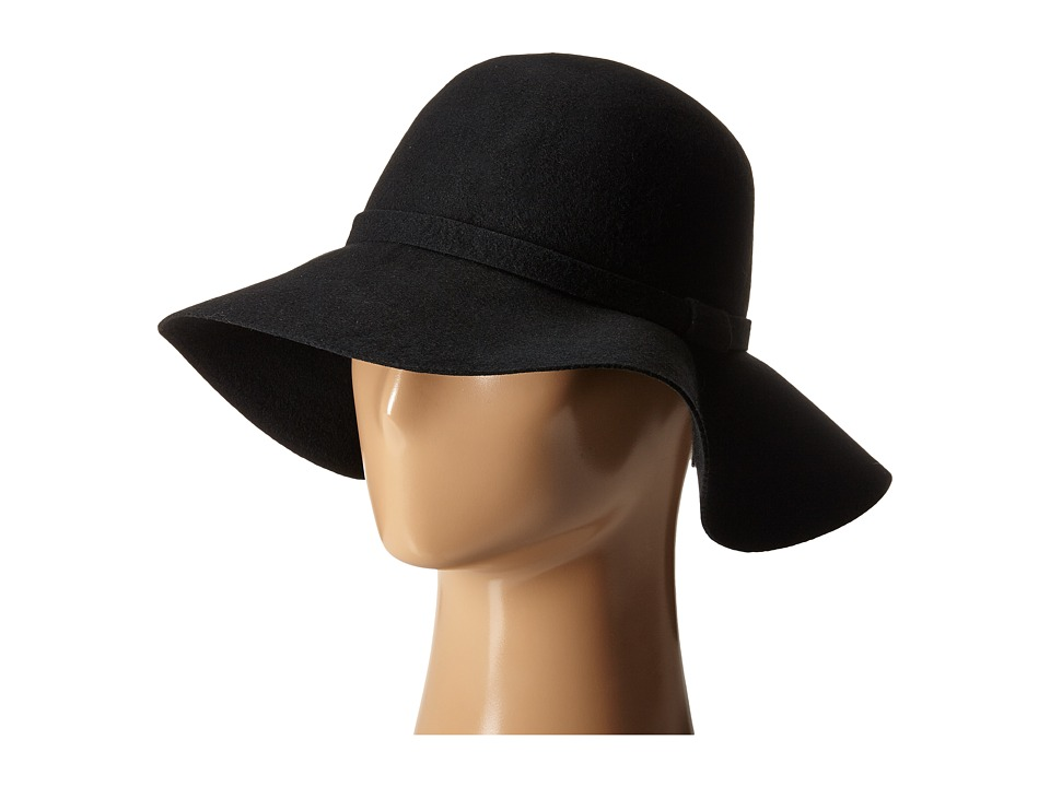 Steve Madden - Felt Floppy Hat w/ Self Band (Black) Caps