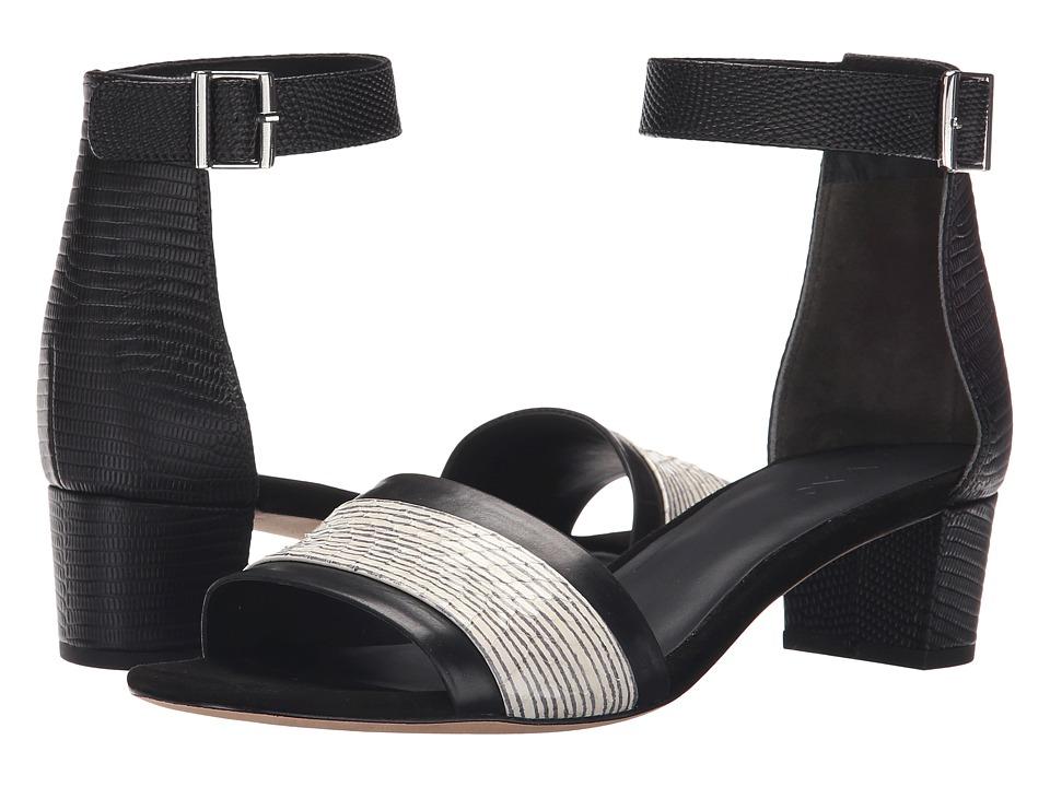 Vince - Raine (Black/Black/White Calf/Striped Landsnake/Lizard Print) Women's Sandals