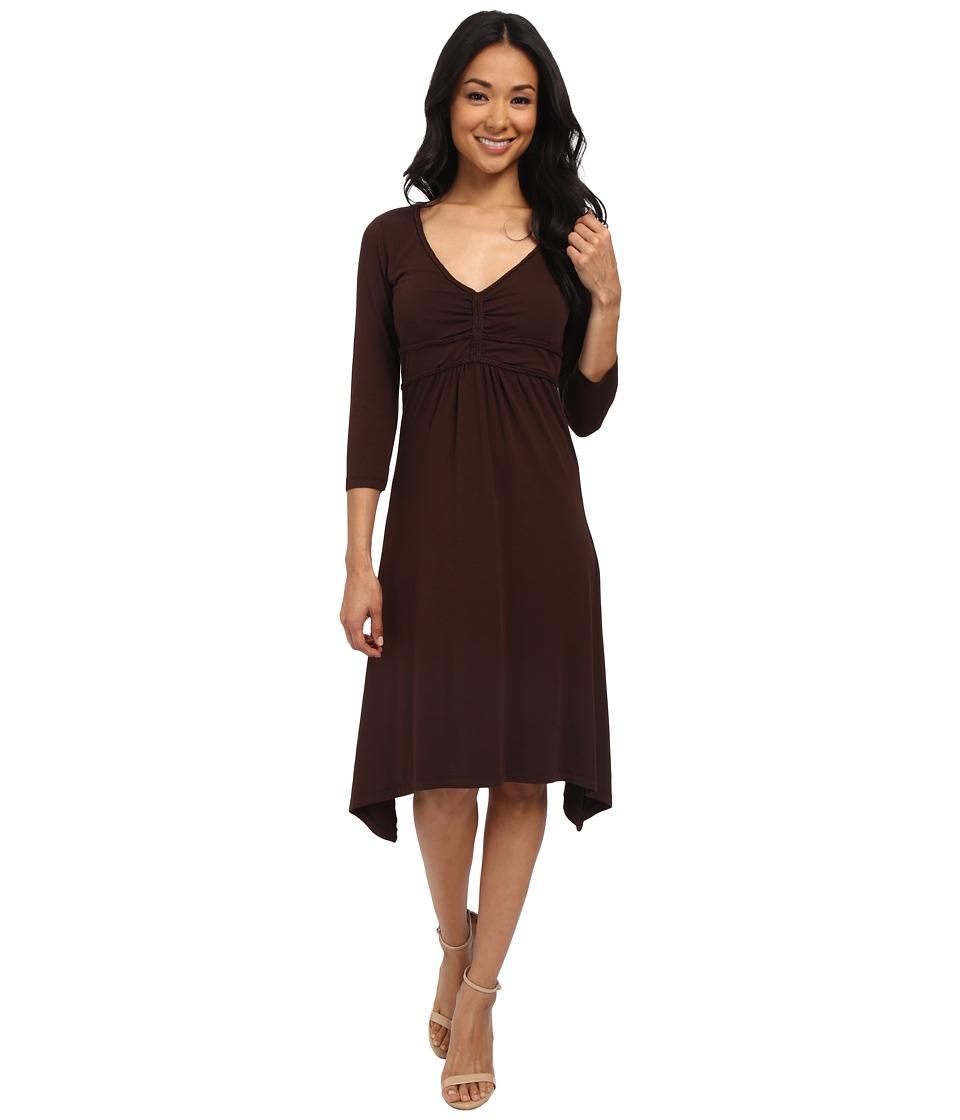 Mod-o-doc Cotton Modal Spandex Jersey Braided Trim Empire Seamed V-Neck Dress (Cocoa) Women