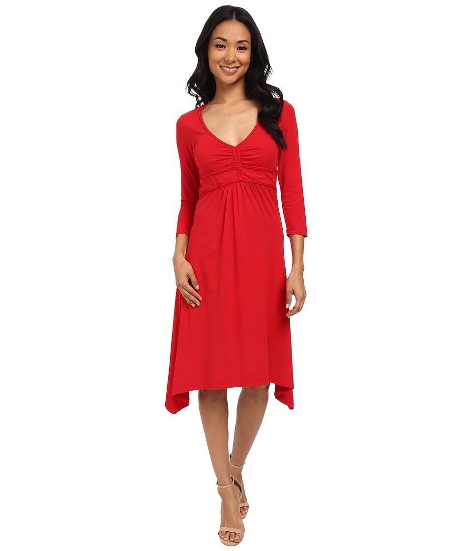 Mod-o-doc Cotton Modal Spandex Jersey Braided Trim Empire Seamed V-Neck Dress (Ruby) Women