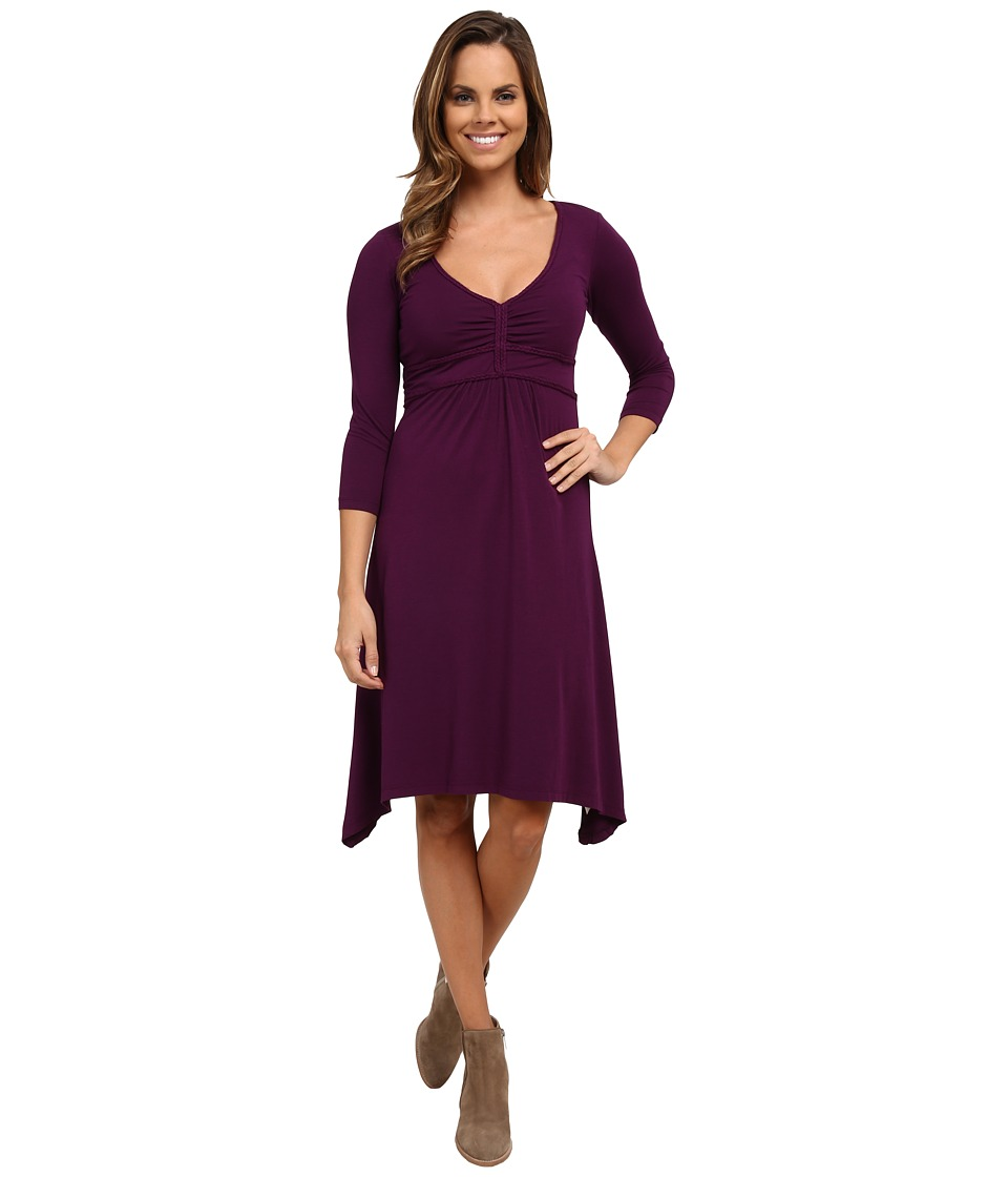 Mod-o-doc - Cotton Modal Spandex Jersey Braided Trim Empire Seamed V-Neck Dress (Port) Women's Dress