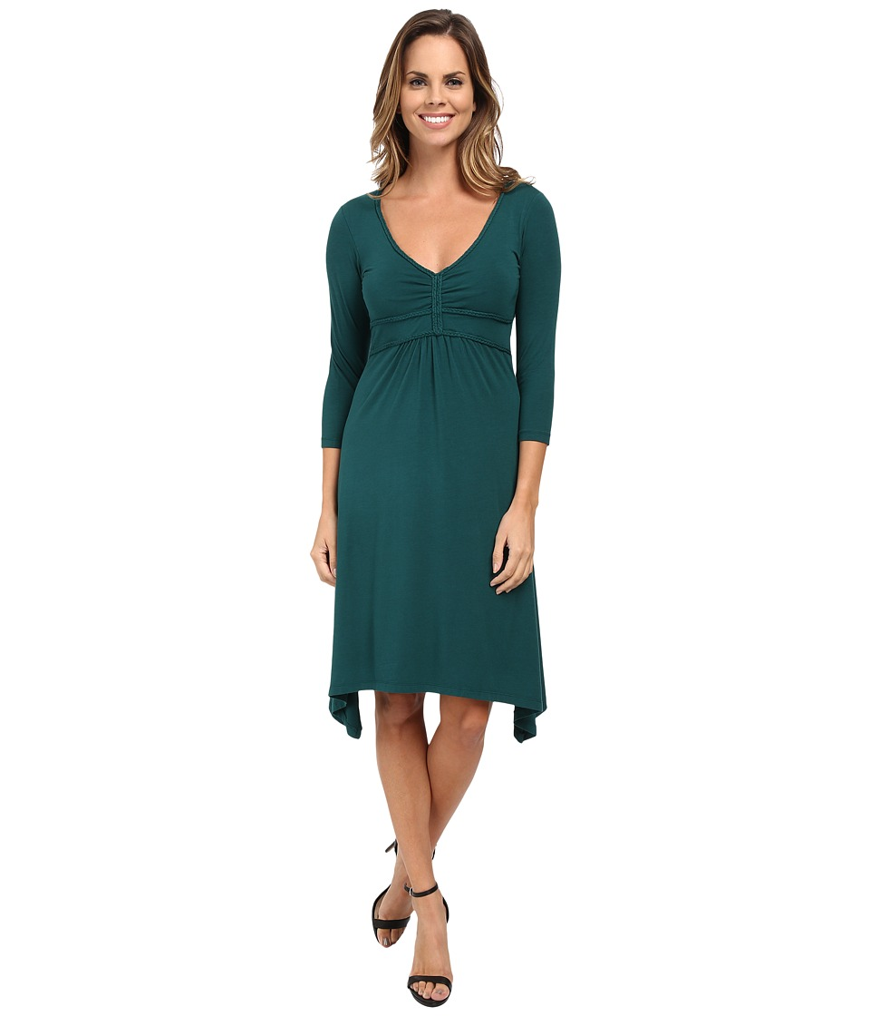 Mod-o-doc Cotton Modal Spandex Jersey Braided Trim Empire Seamed V-Neck Dress (Mallard) Women