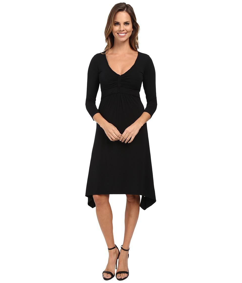Mod-o-doc Cotton Modal Spandex Jersey Braided Trim Empire Seamed V-Neck Dress (Black) Women