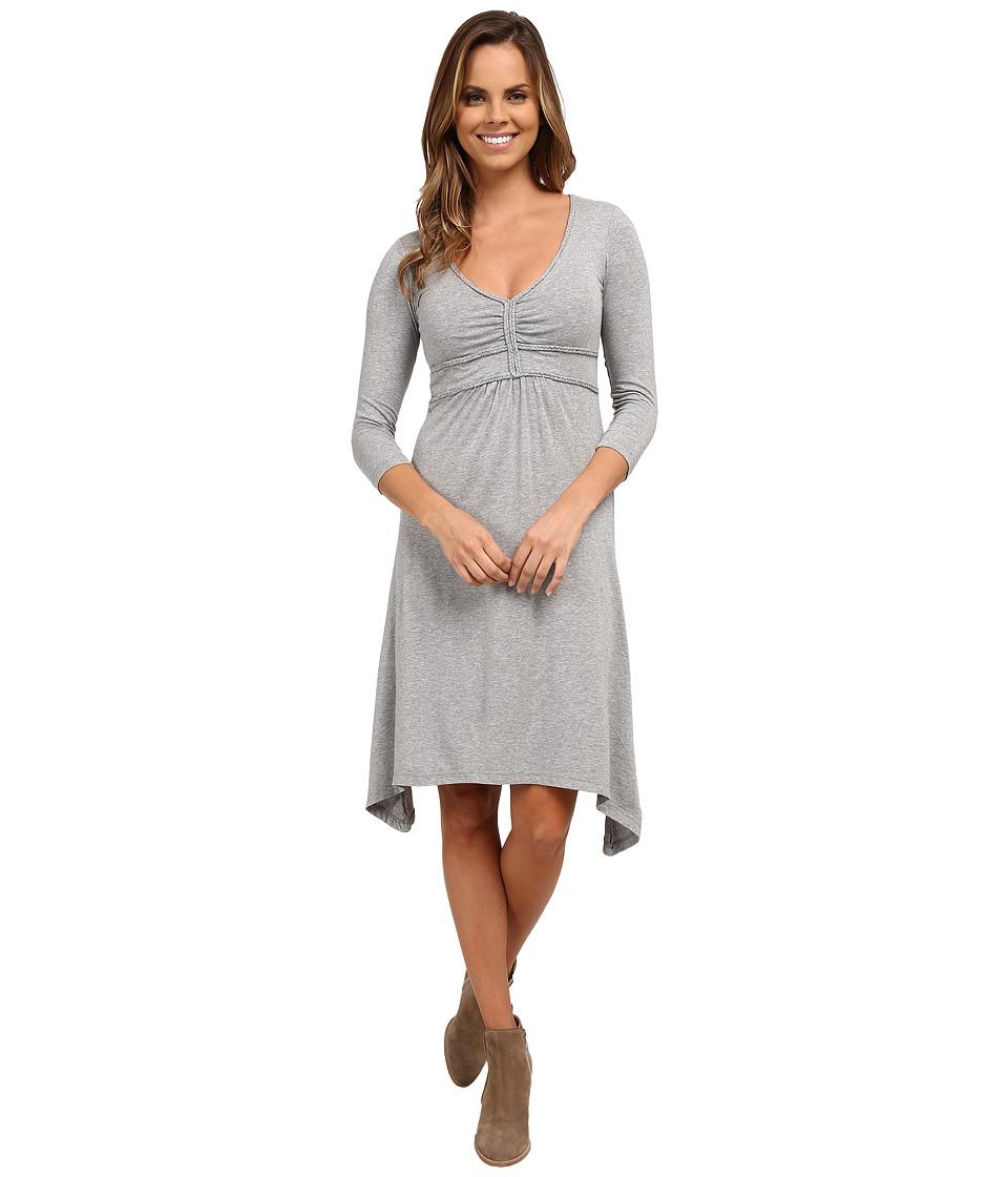 Mod-o-doc Cotton Modal Spandex Jersey Braided Trim Empire Seamed V-Neck Dress (Smoke Heather) Women