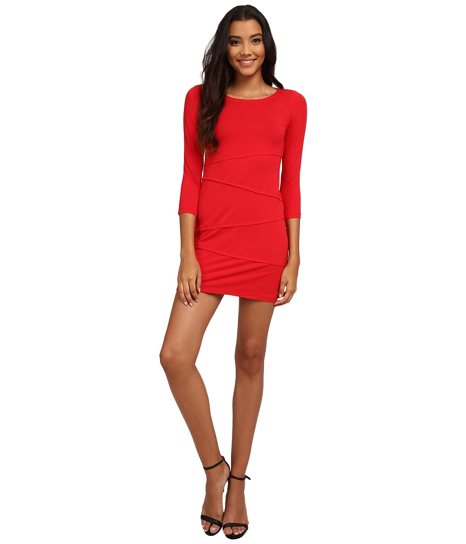 Mod-o-doc - Cotton Modal Spandex Jersey 3/4 Sleeve Asymmetrical Tiered Dress (Ruby) Women's Dress