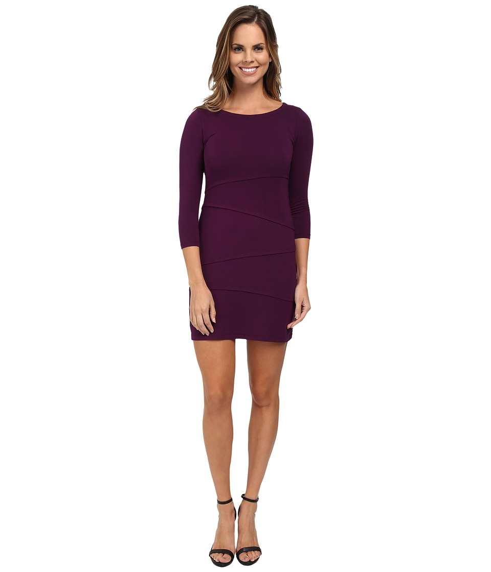 Mod-o-doc - Cotton Modal Spandex Jersey 3/4 Sleeve Asymmetrical Tiered Dress (Port) Women's Dress