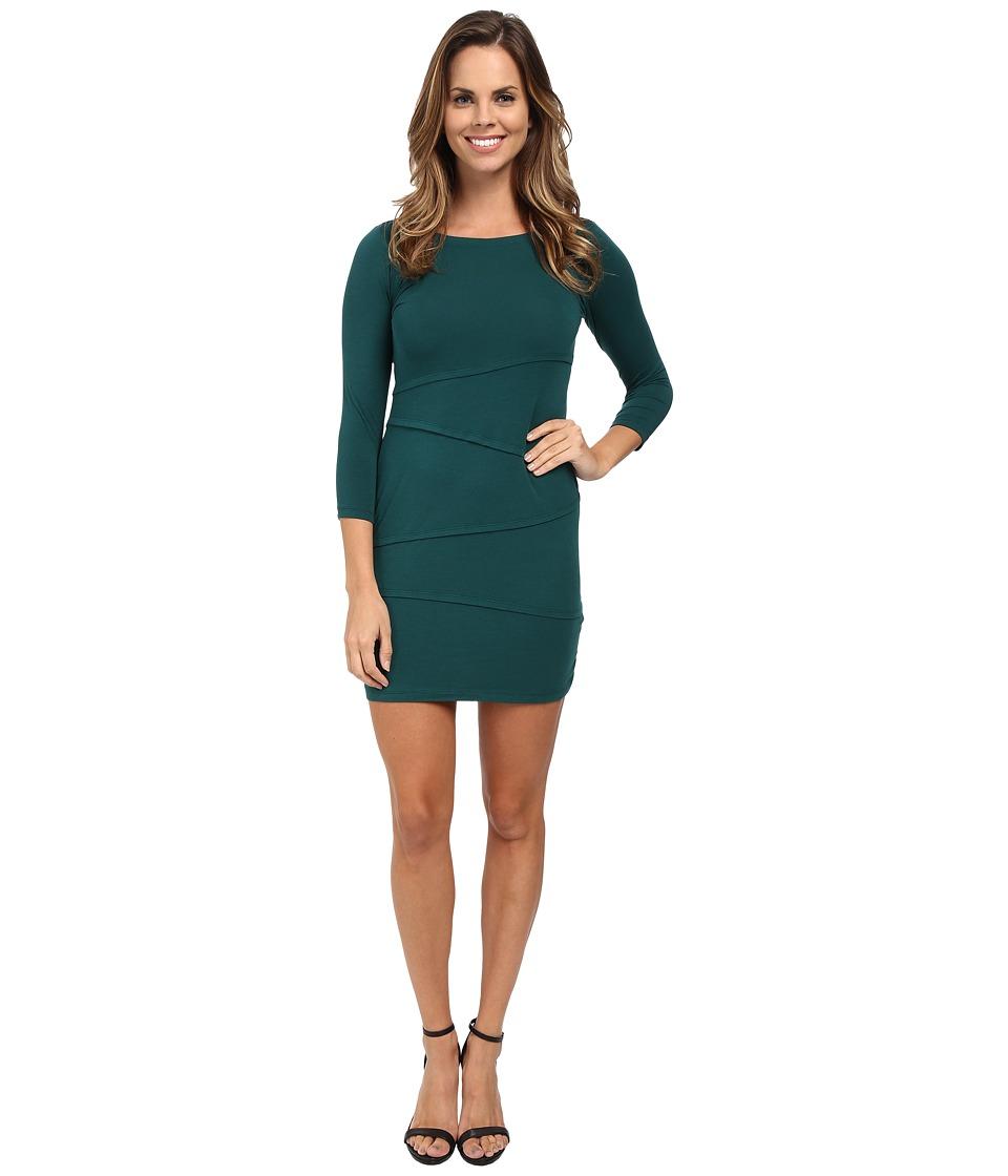 Mod-o-doc Cotton Modal Spandex Jersey 3/4 Sleeve Asymmetrical Tiered Dress (Mallard) Women