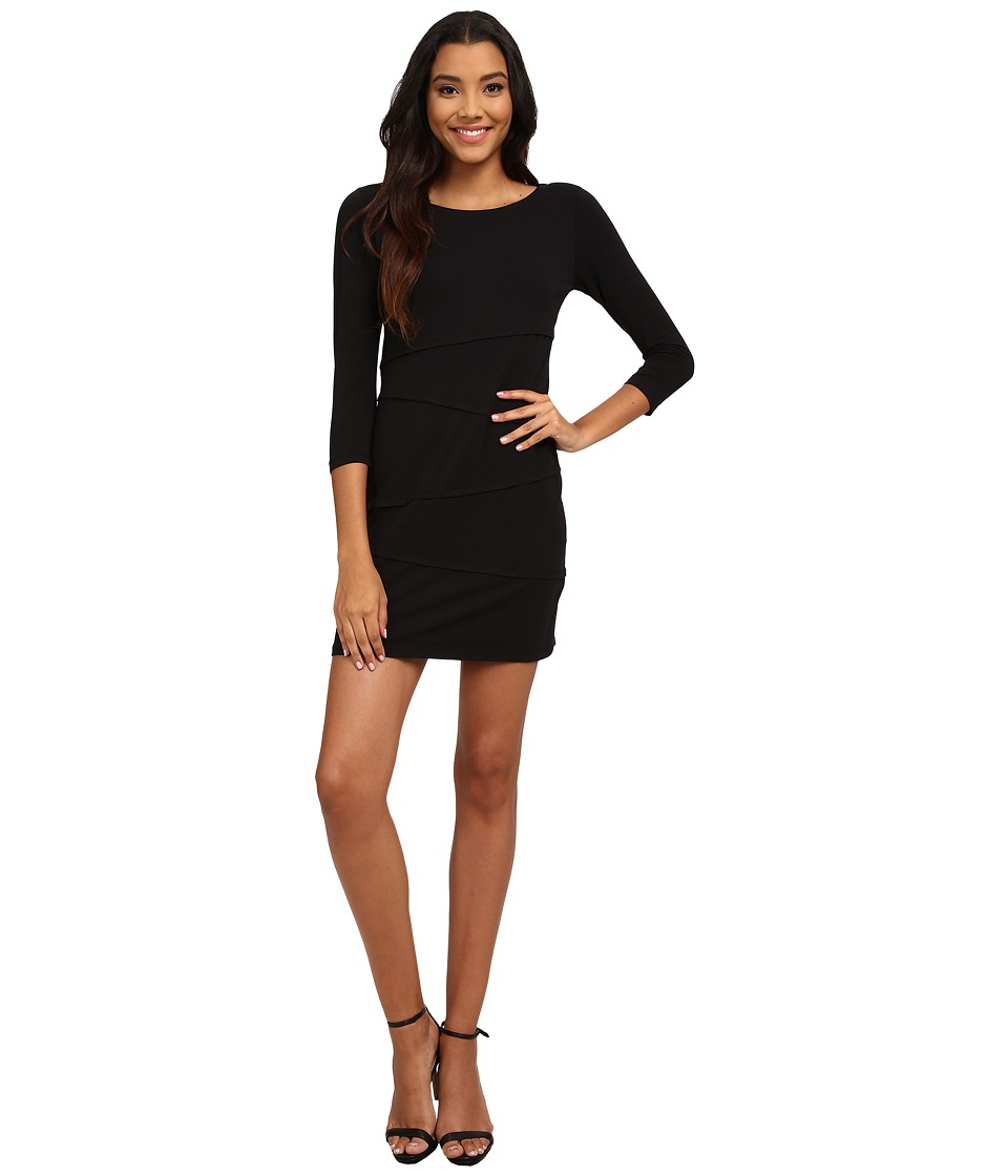 Mod-o-doc - Cotton Modal Spandex Jersey 3/4 Sleeve Asymmetrical Tiered Dress (Black) Women's Dress