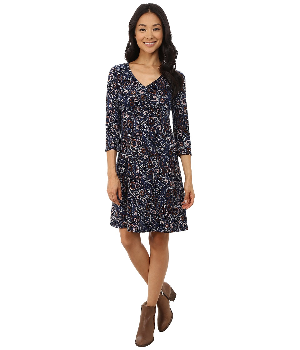Mod-o-doc - Long Sleeved Shirred V-Neck Empire Dress (Paisley) Women's Dress