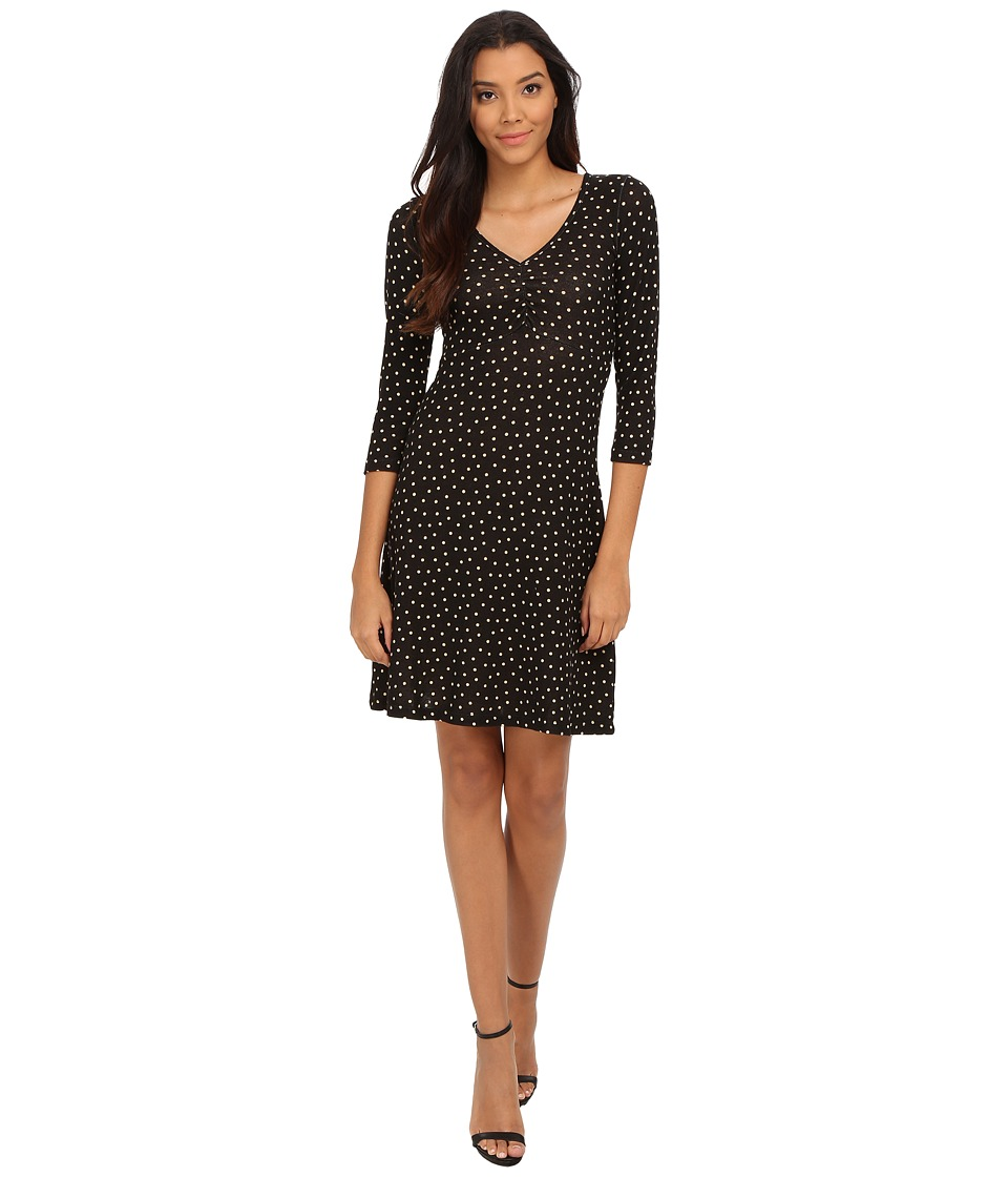 Mod-o-doc - Long Sleeved Shirred V-Neck Empire Dress (Polka Dot) Women's Dress