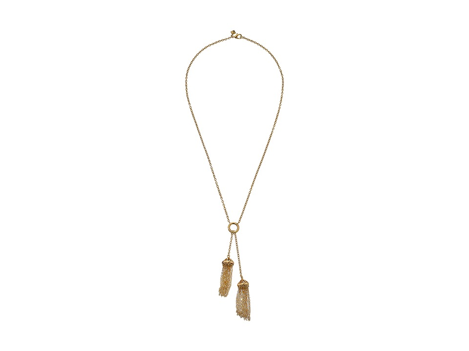 Rebecca Minkoff - Caged Stud Tassel Necklace (Gold) Necklace