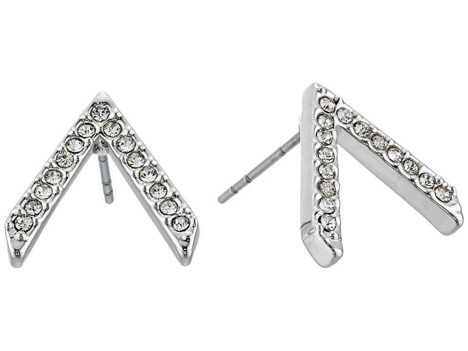 Rebecca Minkoff - Pave V Button Earrings (Rhodium/Crystal) Earring