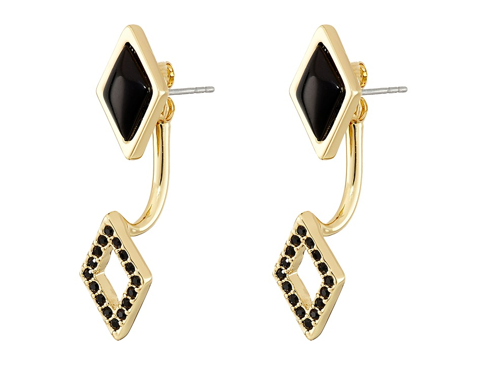 Rebecca Minkoff - Two Part Diamond Earrings (Gold/Black) Earring