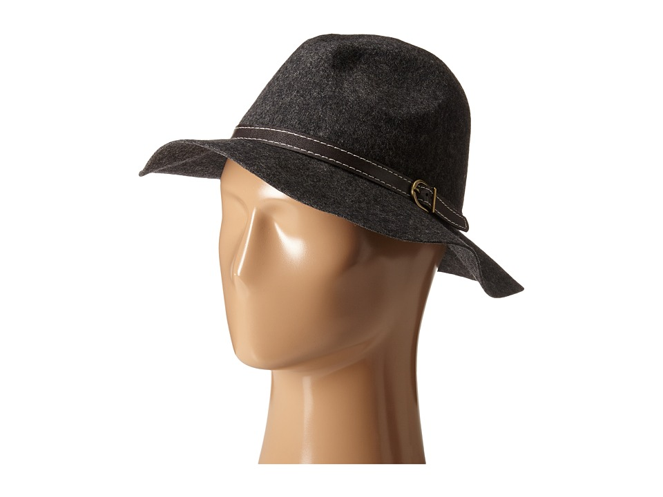 Steve Madden - Wide Brim Fedora with Hat Band (Grey) Fedora Hats
