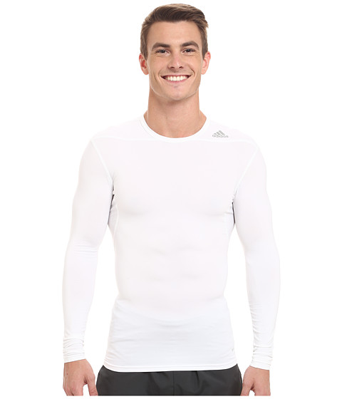 adidas - Techfit Base Long Sleeve (White) Men's Clothing