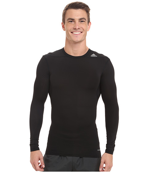 adidas - Techfit Base Long Sleeve (Black/Black) Men