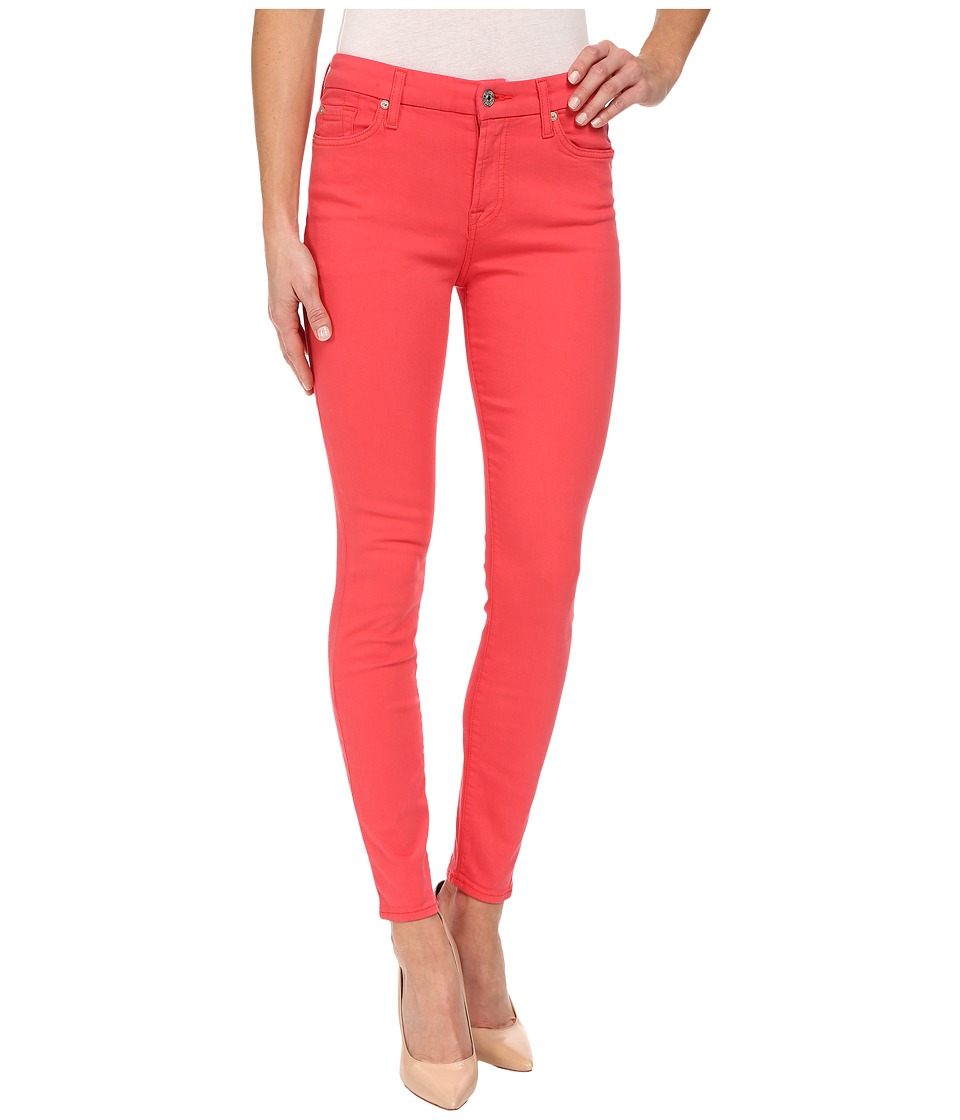 7 For All Mankind - The Mid Rise Ankle Skinny in Cherry Red (Cherry Red) Women's Jeans