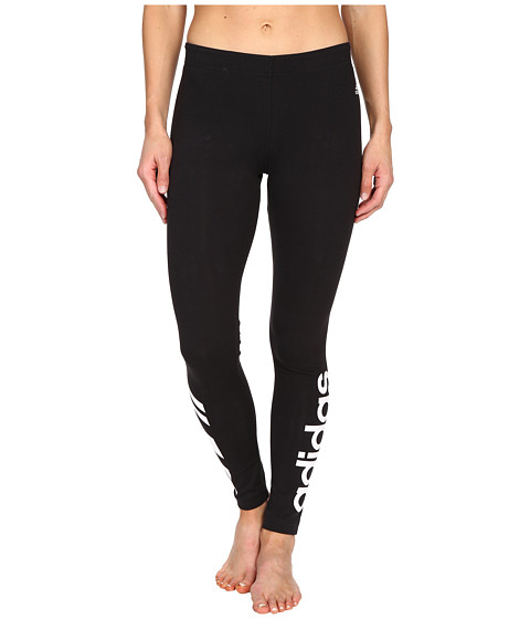 adidas - Cotton Logo Leggings (Black/White) Women's Workout
