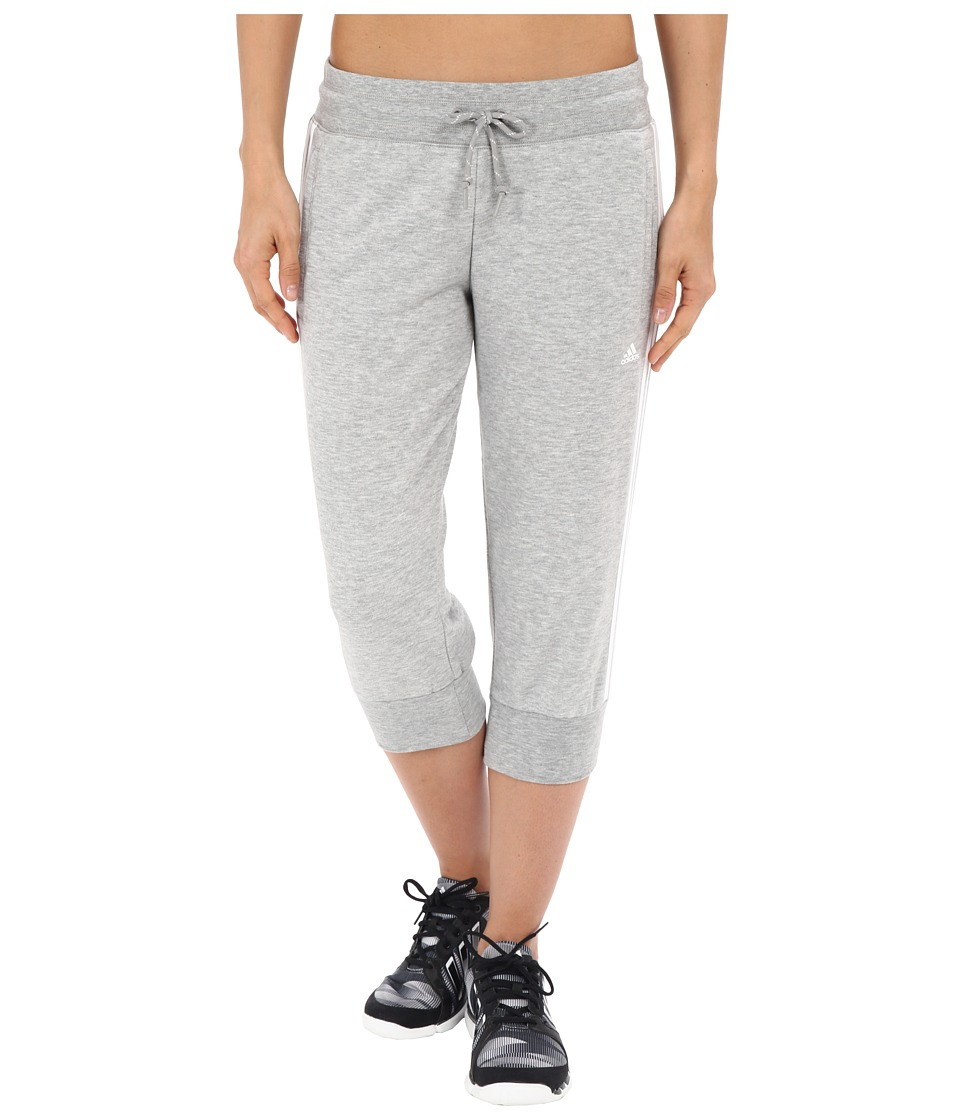adidas - Essential 3S 3/4 Pants (Medium Grey Heather/White) Women's Casual Pants
