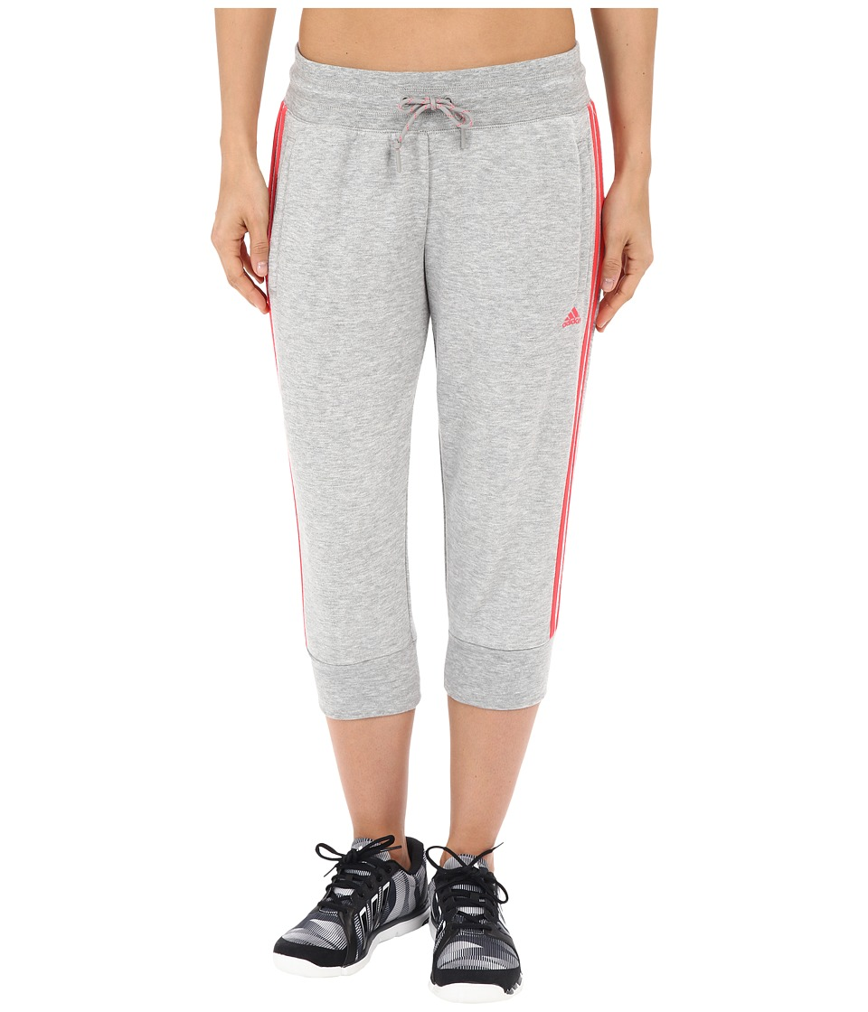 adidas - Essential 3S 3/4 Pants (Medium Grey Heather/Shock Red) Women's Casual Pants