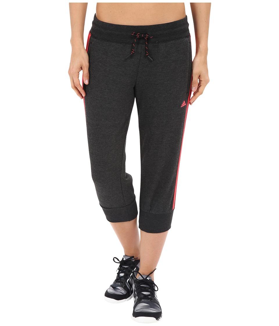 adidas - Essential 3S 3/4 Pants (Black Melange/Shock Red) Women's Casual Pants