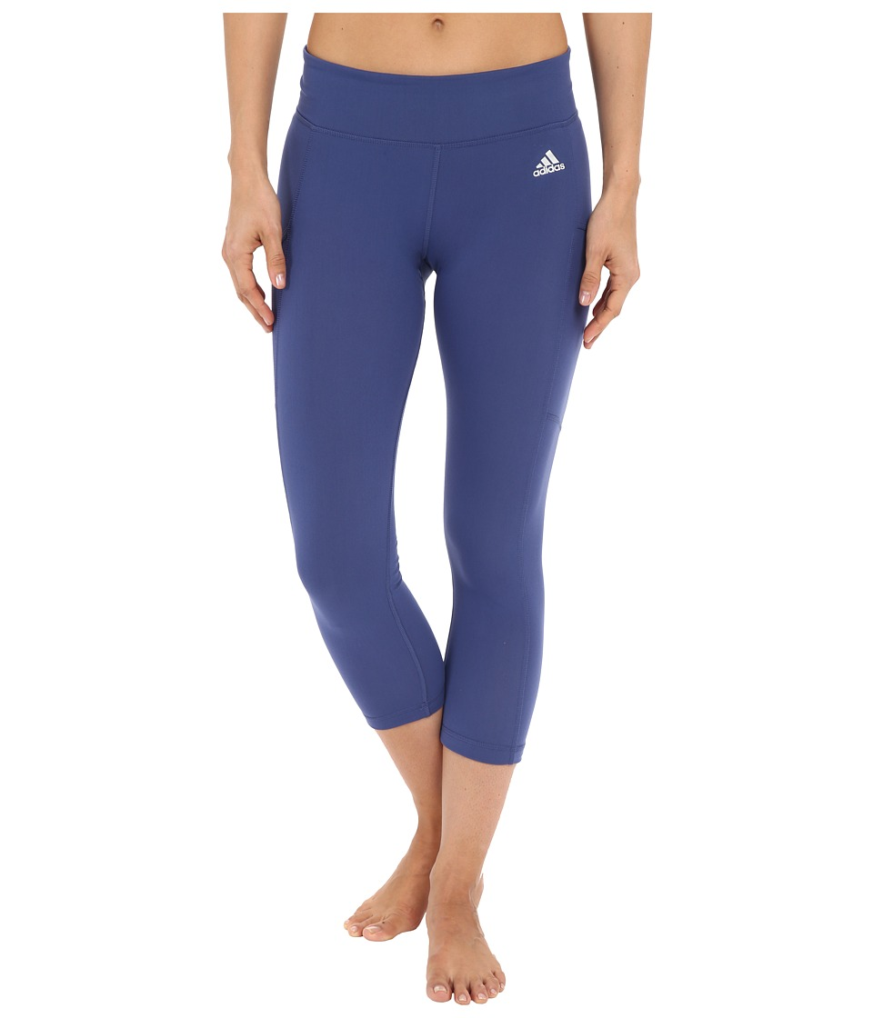 adidas - Clima Studio Mid Rise 3/4 Tights (Raw Purple/Matte Silver) Women's Workout