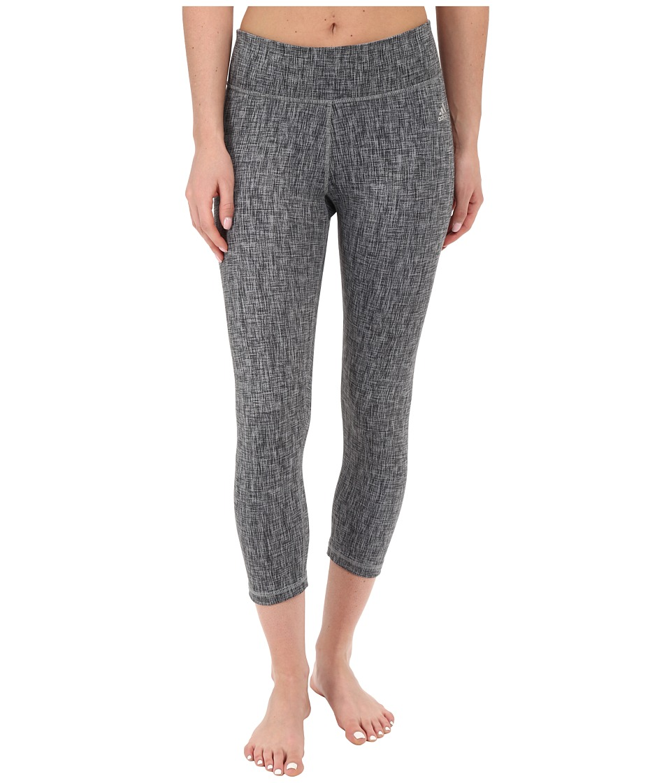 adidas Clima Studio Mid Rise 3/4 Texture Print Tights (Grey/Print/Matte Silver) Women