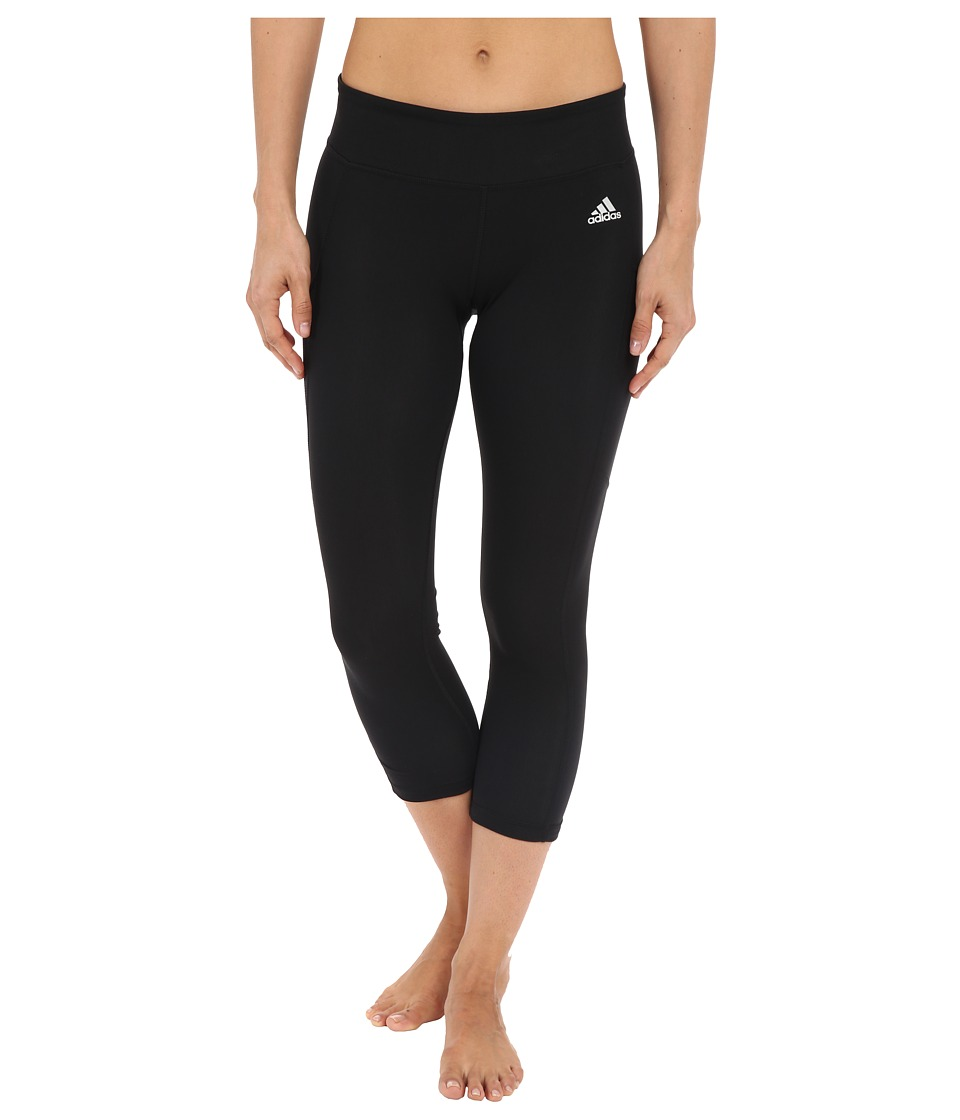 adidas - Clima Studio Mid Rise 3/4 Tights (Black/Matte Silver) Women's Workout