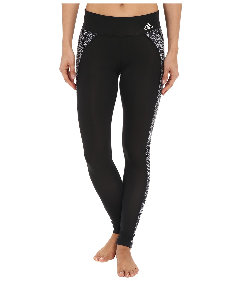 adidas Clima Studio Mid Rise Animal Print Long Tights (Black/DGH Solid Grey/Print) Women
