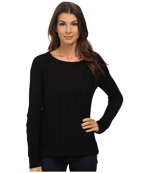 Pink Rose - Long Sleeve Crew Neck Hi Lo Sweater Top (Black) Women
