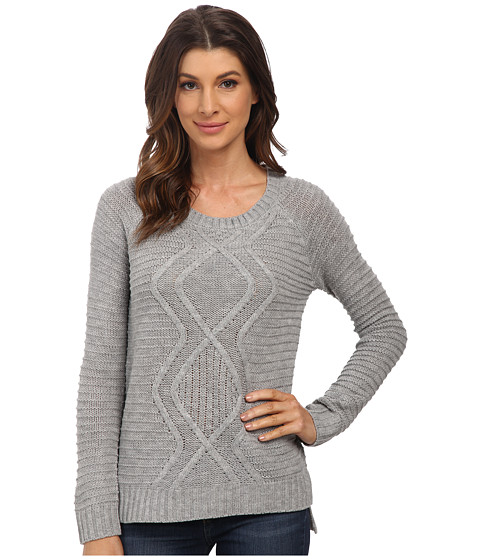 Pink Rose - Long Sleeve Crew Neck Center ZZ Cable Sweater Top (Heather Grey) Women