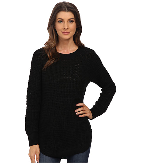 Pink Rose - Long Sleeve Scoop Neck Shrtail Hem Sweater Top (Black) Women