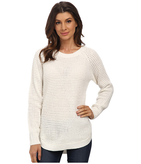 Pink Rose - Long Sleeve Scoop Neck Shrtail Hem Sweater Top (Ivory) Women's Sweater