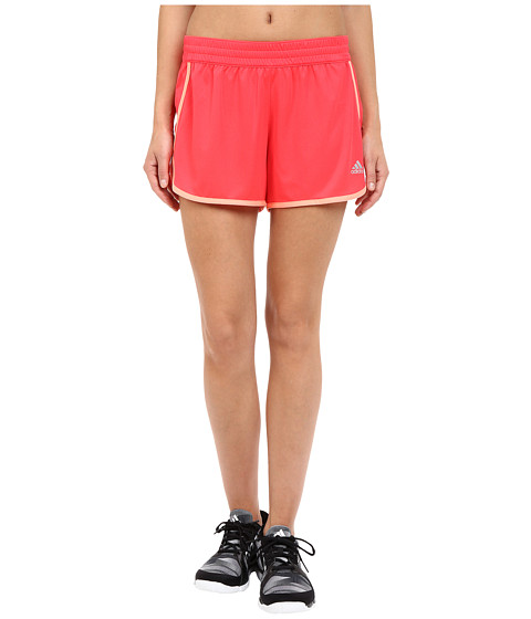 adidas - 100M Dash Knit Shorts (Shock Red/Sun Glow) Women