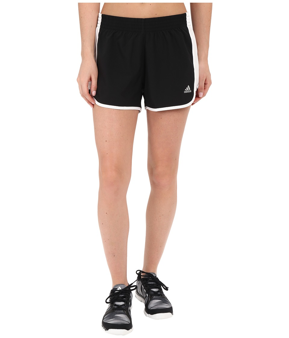 adidas - 100M Dash Woven Shorts (Black/White) Women's Shorts