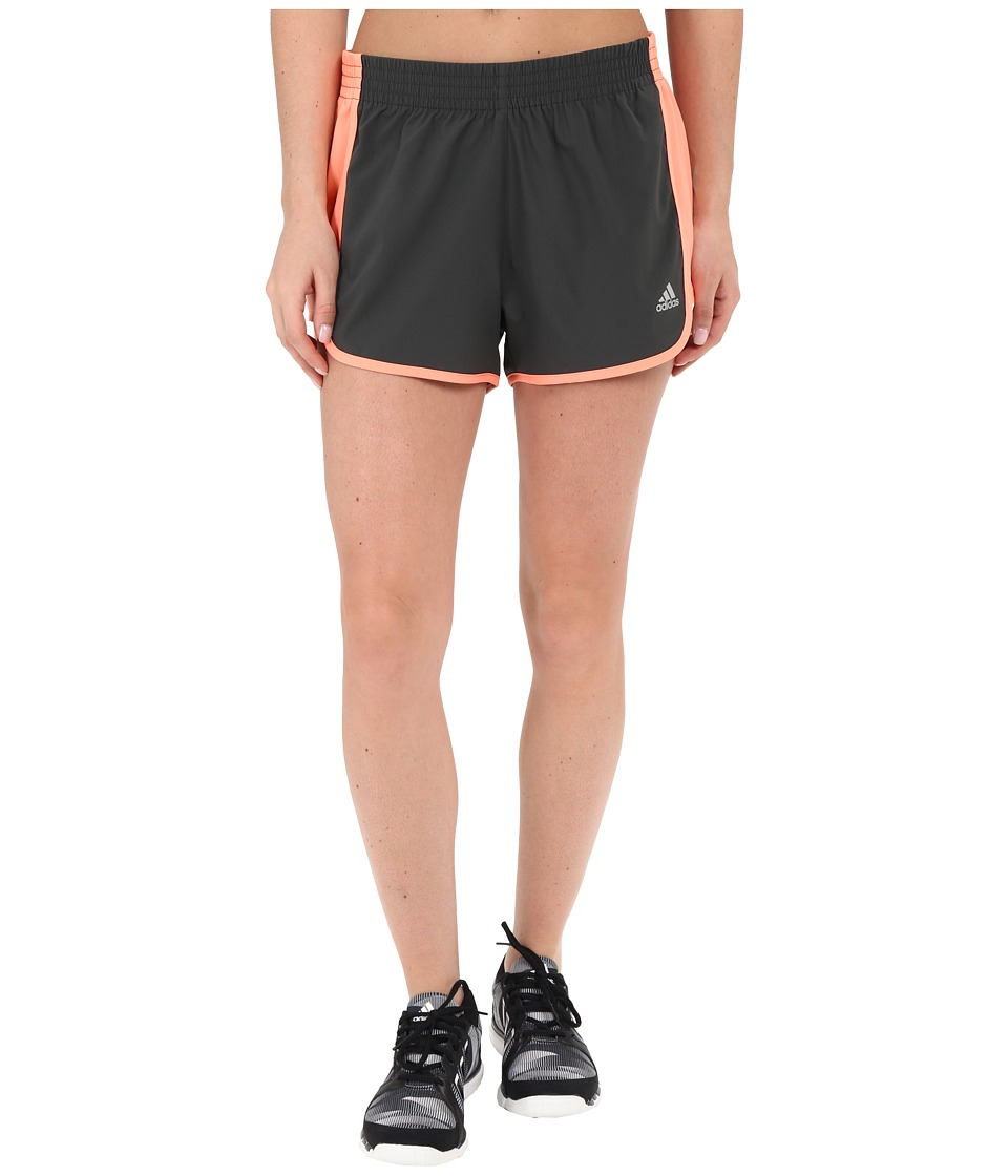 adidas - 100M Dash Woven Shorts (DGH Solid Grey/Sun Glow) Women's Shorts