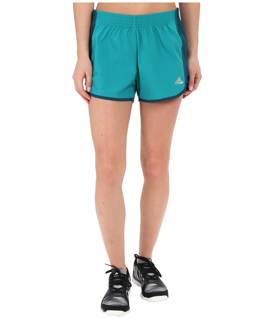 adidas - 100M Dash Woven Shorts (EQT Green/Mineral) Women's Shorts