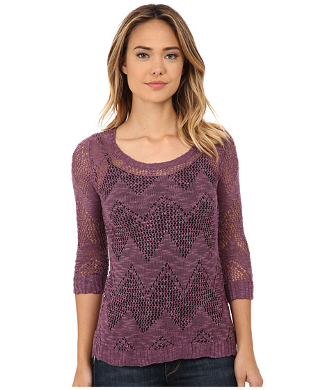 Pink Rose - 3/4 Sleeve Pointelle Pullover Sweater (Lilac Lace) Women
