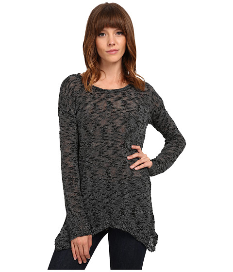 Pink Rose - Long Sleeve Brushed Tunic Length Sweater Top (Noir Black) Women