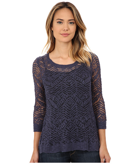 Pink Rose - 3/4 Sleeve Pointelle Pullover Sweater (Potpourri Blue) Women