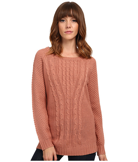Pink Rose - Long Sleeve Crew Neck Hi Lo Sweater Top (Velveteen) Women