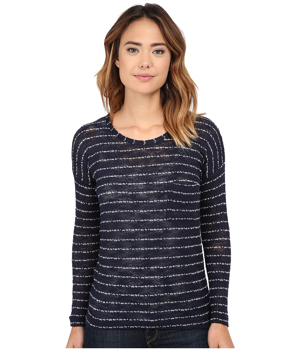 Pink Rose - 3/4 Drop Shoulder Stripe Strap Slouch Pocket Hacci Top (Navy/Ivory) Women's Sweater