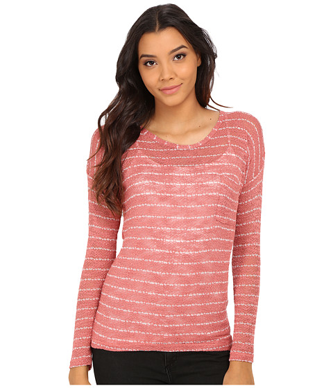 Pink Rose - 3/4 Drop Shoulder Stripe Strap Slouch Pocket Hacci Top (Rosebud/Ivory) Women's Sweater
